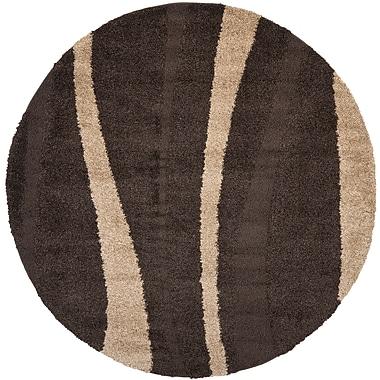 Safavieh Willow Shag Round Area Rug, 4' x 4', Dark Brown/Beige