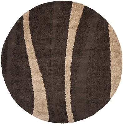 Safavieh Willow Shag Round Area Rug, 4' x 4', Dark Brown/Beige