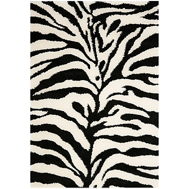 Safavieh Zebra Shag Small Rectangle Area Rug, 4' x 6', Ivory/Black