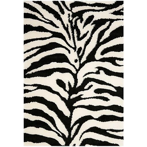 Zebra Rug Large: Safavieh Zebra Shag Large Rectangle Area Rug, 8' X 10