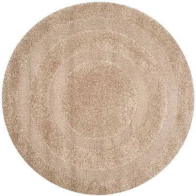 Safavieh Shadow Box Shag Round Area Rug, 5' x 5', Beige
