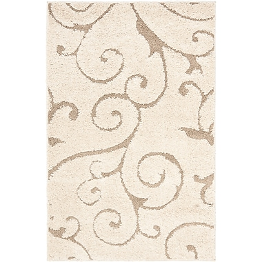 Safavieh Florida Sydney Shag Small Rectangle Area Rug, 4' x 6', Cream/Beige