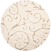 Safavieh Florida Sydney Shag Medium Round Area Rug, 5' x 5', Cream/Beige