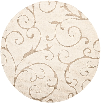 Safavieh Florida Sydney Shag Medium Round Area Rug, 5' x 5', Cream/Beige
