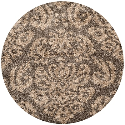 Safavieh Florida Kelly Shag Round Area Rug, 4' x 4', Smoke/Beige