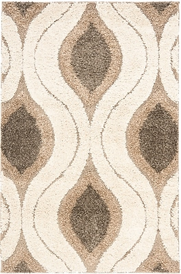 Safavieh Florida Joss Shag Small Rectangle Area Rug, 4' x 6', Cream/Smoke
