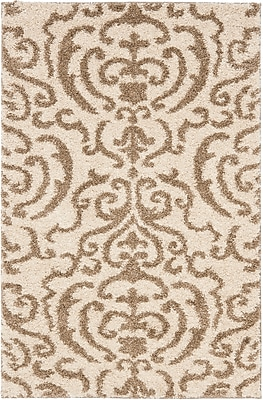 Safavieh Florida Holly Shag Small Rectangle Area Rug, 4' x 6', Cream/Beige