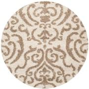Safavieh Florida Shag Round Area Rug, 5' x 5', Cream/Beige (SG462-1113-5R)