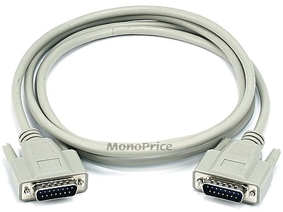 Monoprice® 6' DB15 Male to Male Molded Serial Cable, Beige
