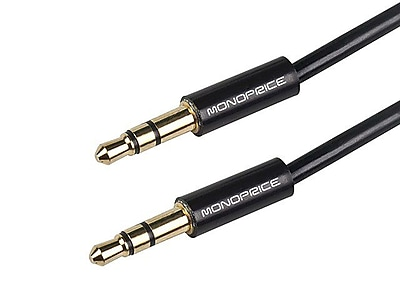 Monoprice® 6' Coiled 3.5mm Stereo Male to Male Audio Cable, Black