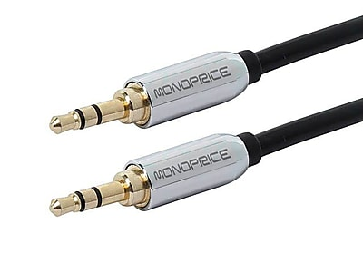Monoprice® 6' Gold Plated 3.5mm Stereo Male to Male Cable For Mobile, Black