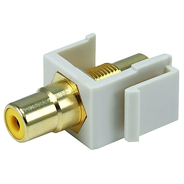 Monoprice® Modular RCA Keystone Jack With Yellow Center, Ivory