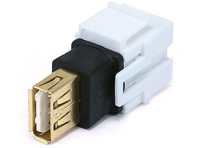 Monoprice® USB 2.0 A Female to Female Coupler Adapter Flush Type Keystone Jack, White