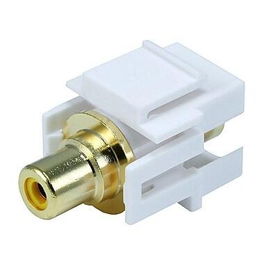 Monoprice® Flush Type Modular RCA Keystone Jack With Yellow Center, White