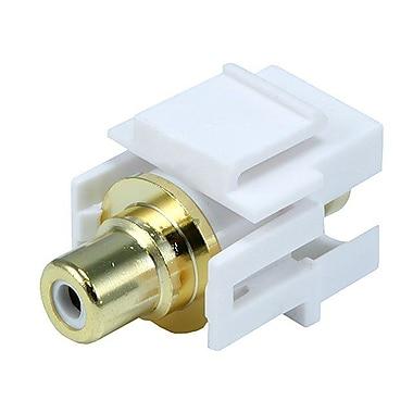 Monoprice® Flush Type Modular RCA Keystone Jack With White Center, White