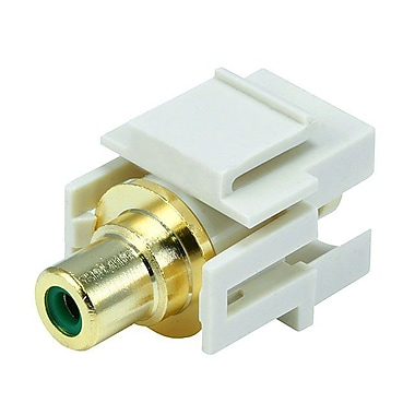 Monoprice® Flush Type Modular RCA Keystone Jack With Green Center, Ivory
