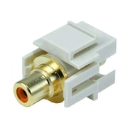 Monoprice® Flush Type Modular RCA Keystone Jack With Orange Center, Ivory