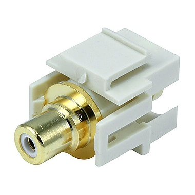 Monoprice® Flush Type Modular RCA Keystone Jack With White Center, Ivory