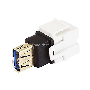 Monoprice 107836 USB 3.0 Keystone Jack Coupler Adapter, White