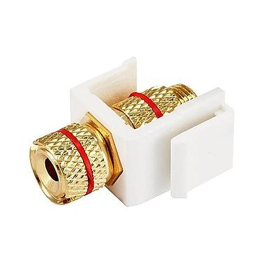 Monoprice® Banana Keystone Jack With Red Ring, White