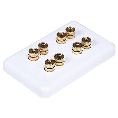 Monoprice® High Quality Banana Binding Post Wall Plate For 4 Speaker, White
