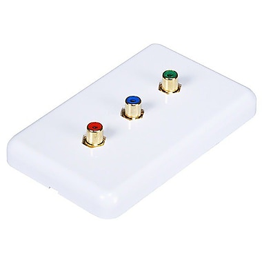 Monoprice® 3 RCA Component Wall Plate, White