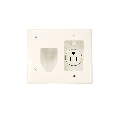 Monoprice® 104006 Recessed Low Voltage Cable Wall Plate With Recessed Power, White