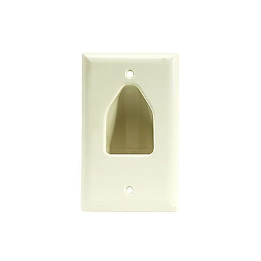 Monoprice® 1-Gang Recessed Low Voltage Cable Wall Plate, Lite Almond