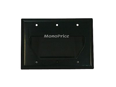 Monoprice® 3-Gang Recessed Low Voltage Cable Wall Plate, Black