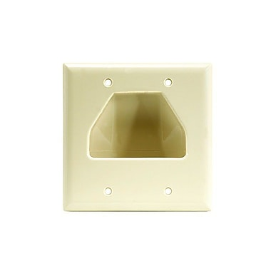 Monoprice® 2-Gang Recessed Low Voltage Cable Wall Plate, Ivory