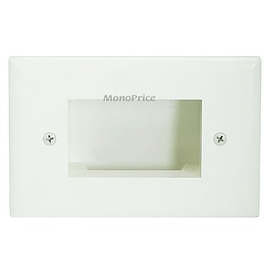 Monoprice® Low Voltage Cable Recessed Slim Fit Wall Plate, Lite Almond
