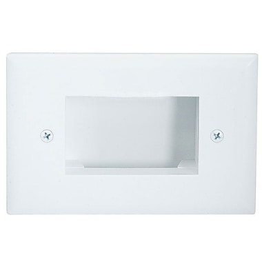 Monoprice® Low Voltage Cable Recessed Slim Fit Wall Plate, White