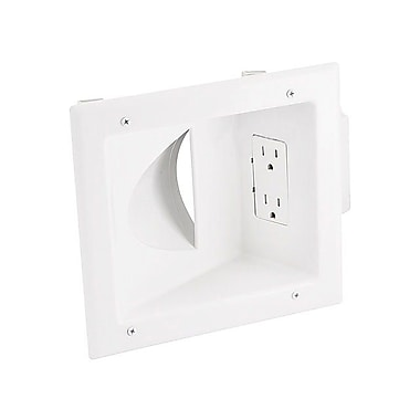 Monoprice® Recessed Low Voltage Media Wall Plate With Duplex Receptacle, White