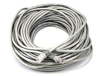 Monoprice® 100' 24AWG Cat5e UTP Crossover Copper Ethernet Network Cable, Gray
