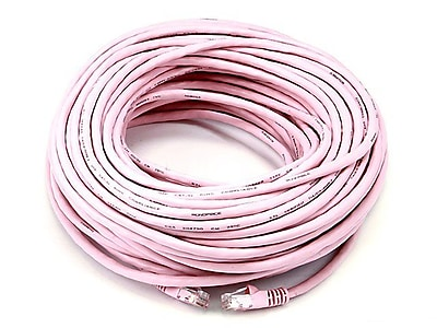 Monoprice® 100' 24AWG Cat5e UTP LC Male to Male Ethernet Network Cable, Pink