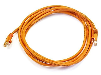 Monoprice® 7' 24AWG Cat6 UTP Ethernet Network Cable, Orange
