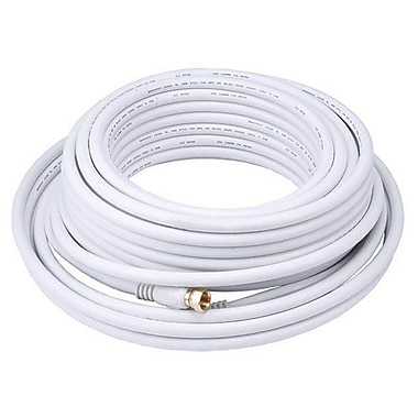 Monoprice® 50' CL2 Quad Shielded RG6 F Type 18AWG Coaxial Cable, White