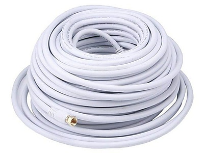 Monoprice® 100' CL2 Quad Shielded RG6 F Type 18AWG Coaxial Cable, White