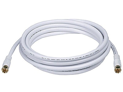 Monoprice® 10' CL2 Quad Shielded RG6 F Type 18AWG Coaxial Cable, White