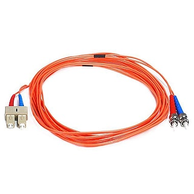Monoprice® 5 m OM1 ST to SC Fiber Optic Cable, Orange
