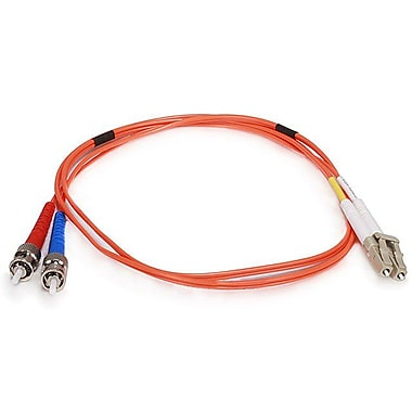 Monoprice® 1 m OM1 LC to ST Fiber Optic Cable, Orange