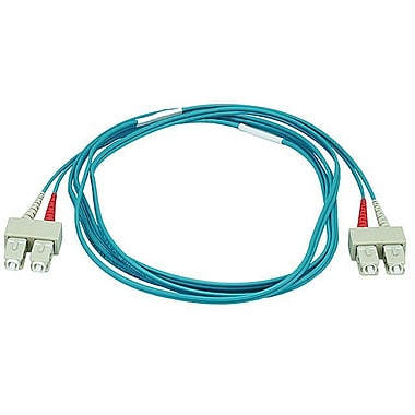 Monoprice® 2 m OM3 SC to SC Fiber Optic Cable, Aqua