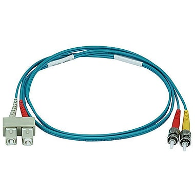 Monoprice® 1 m OM3 ST to SC Fiber Optic Cable, Aqua
