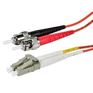 Monoprice® 20 m OM3 LC to ST Fiber Optic Cable, Aqua