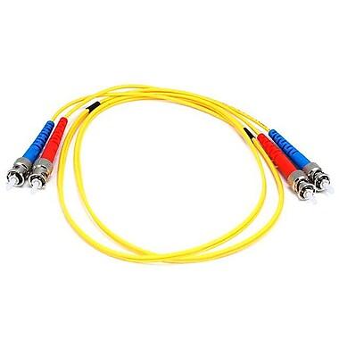 Monoprice® 1 m ST to ST Single Mode Duplex Fiber Optic Cable, Yellow