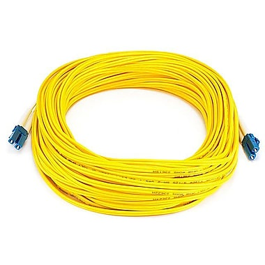 Monoprice® 25 m LC to LC Single Mode Duplex Fiber Optic Cable, Yellow