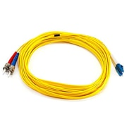 Monoprice® 10 m LC to ST Single Mode Duplex Fiber Optic Cable, Yellow