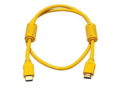 Monoprice® 3' High Speed HDMI Male to Male 28AWG Cable With Ferrite Cores, Yellow