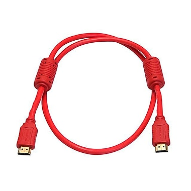 Monoprice® 3' High Speed HDMI Male to Male 28AWG Cable With Ferrite Cores, Red