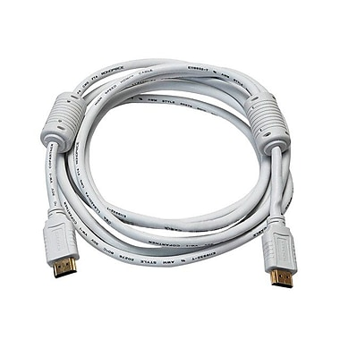 Monoprice® 10' High Speed HDMI Male to Male 28AWG Cable With Ferrite Cores, White